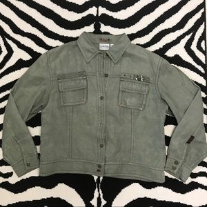 Chico's Embellished Silk/Linen Military Jacket